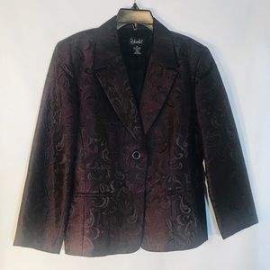 Women's Rafaella Burgundy Decorative Blazer-Sz 14
